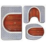 Alfombra de baño antideslizante de 3 piezas Juego de tapa de asiento de inodoro Alfombrilla de baño marroquí suave antideslizante Puerta de madera antigua de arquitectura asiática con forma de estrell