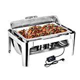 9L Stainless Steel Chafing Dish Buffet Calentador de Comida, Calentador de Alimentos con Cubierta, Food Warmer For Catering For Any Party Football Game and Office Gathering, 64 * 46 * 44CM