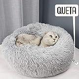 Queta Lettini per Cani Cuccia per Gatti Letto Rotondo in Peluche Ultra Morbido (70cm, Grigio Chiaro)