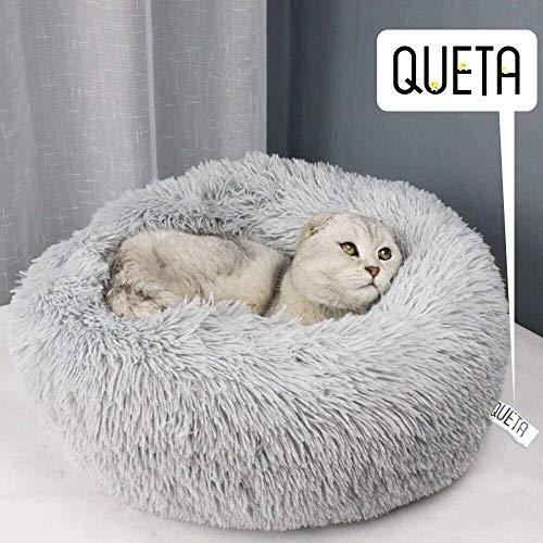 Queta Katzenbett Schöne Tierbett, Klein Hund Bett Haustierbett Plüsch Weich Runden Katze Schlafen Bett (60cm Durchmesser Hellgrau)