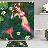 WOTAKA シャワーカーテン バスマット 2点セット 妖精の風景と蓮の池の人魚セクシーな美しい人魚の女の子 自家 寮用 ホテル 間仕切り 浴室 バスルーム 風呂カーテン 足ふきマット 遮光 防水 おしゃれ 12個リング付き