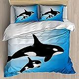 YnimioHOB Juego de Funda nórdica Ocean Orca Family Madre y bebé Nadando en el océano Tema de paternidad para niños, Juego de Cama Decorativo de 3 Piezas con 2 Fundas de Almohada