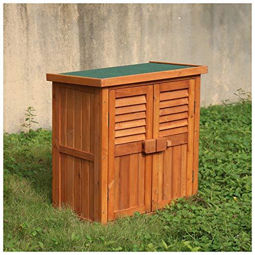 AIOEJP Holzgartenhaus Outdoor Aufbewahrungsbox Schrank Tannenholz Doppeltür Yard Locker Große Deck Box (Natur)
