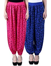 NumBrave Women's Regular Fit Harem Pant(Pack of 2) (EANHAREMPRINTED_PINK_BLUE_Pink & Blue_Free Size)