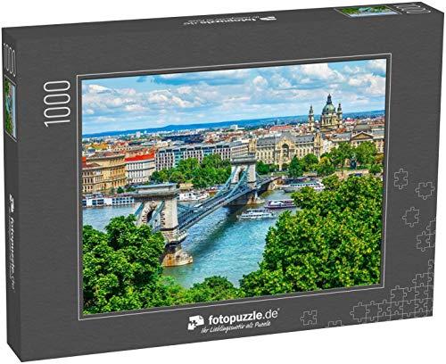 Puzzle 1000 Teile Kettenbrücke auf der Donau in der Stadt Budapest Ungarn - Klassische Puzzle mit edler Motiv-Schachtel, Fotopuzzle-Kollektion 'Ungarn'