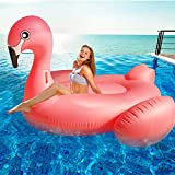 TURNMEON Large Inflatable Pink Flamingo Pool Float Party Toys with Durable Handles, Summer Beach Float Swimming Pool Inflatables Ride-on Pool Toys Raft Lounge for Adults Kids(102'x 45' x 41')