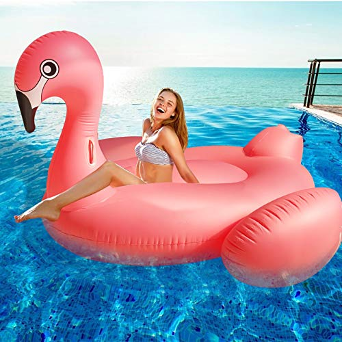 TURNMEON Large Inflatable Flamingo Pool Float Party Toys with Durable Handles, Summer Beach Float Swimming Pool Inflatables Ride-on Pool Toys Raft Lounge Mega Island for Adults Kids(102