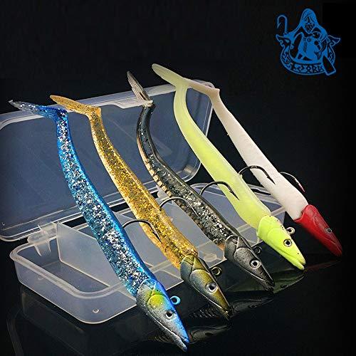 Njord Kalastus Gummifisch Set mit Jigkopf 12 cm 18g 5 Stück in Box | Gummifische Set zum Raubfisch Angeln | Gummifische mit Jigkopf | Gummifisch Zander Gummiköder Angelköder |