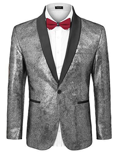 COOFANDY Mens Fashion Dress Suit Jacket Slim Fit Casual One Button Lapel Blazer Party Wedding Dinner Prom Tuxedo, Silver, Medium