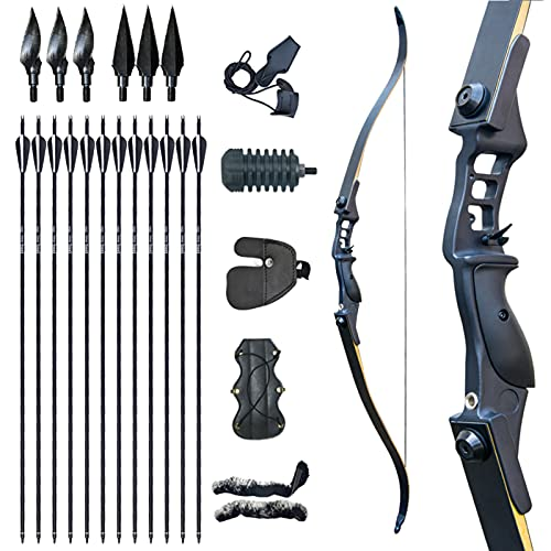 Tongtu Archery 52.3' Hunting Recurve Bow and Arrow Set for Adult Right Handed 30 35 40 45 50lbs for...