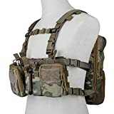 Huenco Tactical Assault Chest Rig 500D Molle Multicam Tactical Vest with Multi-Pockets + Tactical MOLLE Military Day Pack