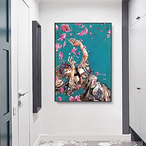 fdgdfgd Abstracto Anime Flores Lienzo Pintura Arte impresión Cartel Sala de Estar Pintura en la Pared decoración del hogar