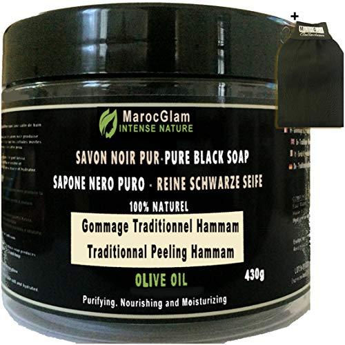 Jabón negro exfoliante 430 g + guante exfoliante de Kessa, aceite de oliva 100% natural, champán y spa, aceite de oliva puro 100% tradicional, Maroc Glam