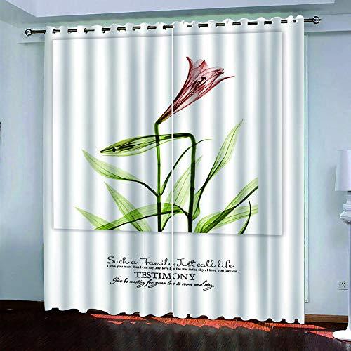 YTSDBB Cortinas Salon Modernas - Plantar Flores - Ancho 150 x Altura 169 cm Salón Dormitorio Opacas Proteccion Intimidad Aislantes Térmicas Cortinas Ventanas para 100% Poliester 2 Pieza