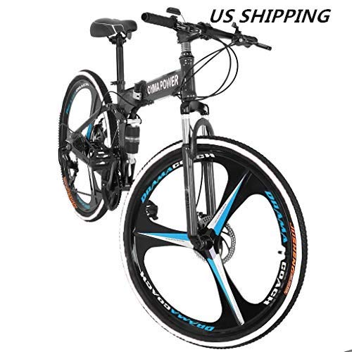 Folding Mountain Bike,Alonea 21 Speed 6 Spoke 26 in Shining SYS Double Disc Brake Bicycle Folding Bike,7 Shifter Bicycle Full Suspension MTB Bicycle for Adult Teens (2-5 Days) (B)
