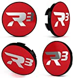 R3 Wheels - Tapacubos (4 unidades), color rojo y plateado brillante