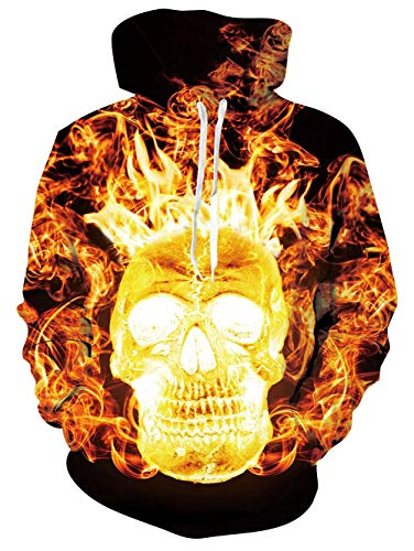 EcoHome Unisex 3D Pullover Hoodie for Men Women Long Sleeve Drawstring Hooded Sweatshirts with Big Pockets S-XXXL B-fire Skull2 XL