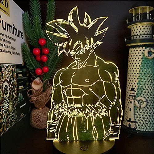 3D noche lightDragon B LED lámpara hijo goku ultra instinto 3D noche luz anime figura goku manga lampara hogar deocration iluminación DBZ bandai