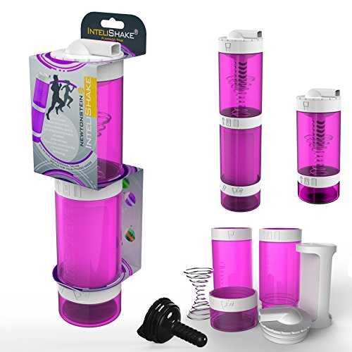 Intelishake - Multi-Compartiments à Puce protéine/entraînement/agitateur jus Bouteille (2 x 500ml) avec de l'eau du Filtre de Carbone pour Le Sport, l'exercice et la Salle de Gym - Rose Flamant