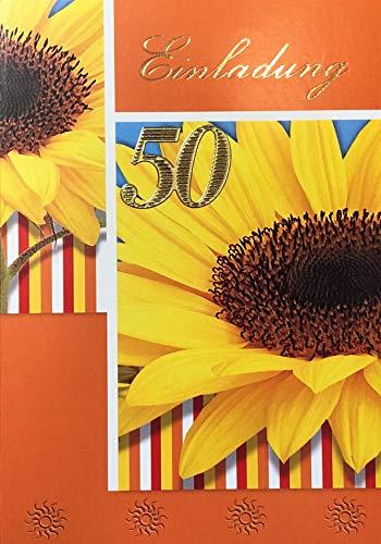 Uitnodigingskaarten 50e verjaardag vrouw man met binnentekst motief zonnebloem 10 vouwkaarten DIN A6 staand met witte enveloppen in set verjaardagskaarten uitnodiging 50 verjaardag man vrouw K167