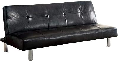 Amazon.com: Naomi Home Convertible Tufted Futon Sofa Black ...