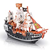 ArtCreativity 10 Inch Pirate Boat - Detailed Pirate Ship Playset - Fun Pirate Party Favor and Prize - Excellent Gift for Kids Ages 5+