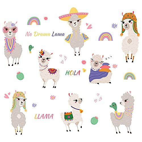 Winhappyhome Adhesivo decorativo para pared con diseño de alpaca, diseño de arco iris, para habitación de niños, fondo extraíble