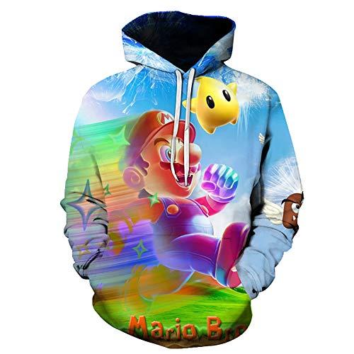 ZGRNB Sudaderas con Capucha Unisex de Super Mario Sudadera con Capucha con Estampado 3D de Disfraz de Cosplay Unisex