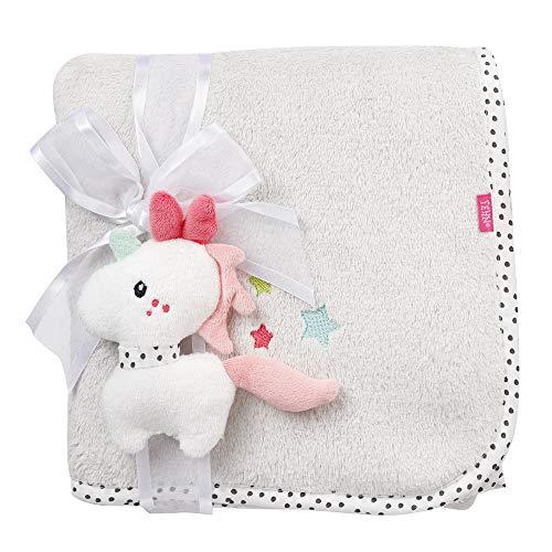 Fehn 057256 Kuscheldecke Einhorn / Kuschelige Schmusedecke für Babys und Kleinkinder ab 0+ Monaten - zum Kuscheln, als Krabbelunterlage, Schnuffeltuch oder Zudecke für zuhause und unterwegs