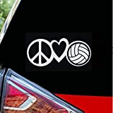 HTradings Love Peace Volleyball - Sticker/Decal for car Laptop Books Truck Guitars ,Water Bottle White 4 inches Approximately