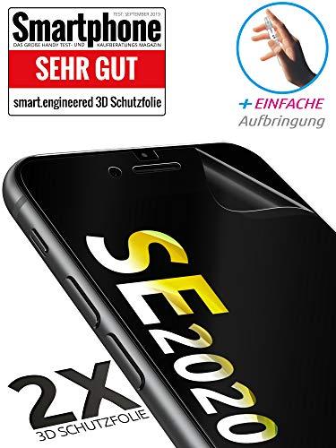 [2 Stück] 3D Schutzfolien kompatibel mit iPhone SE (2020) - [Made in Germany - TÜV Nord] – HD Displayschutz-Folie - Hüllenfreundlich – Transparent – kein Schutz-Glas sondern Panzer-Folie TPU