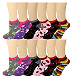 Differenttouch 12 Pairs Pack Women Low Cut Colorful Fancy Design Ankle Socks (9-11, valentine's day) -  SUMONA