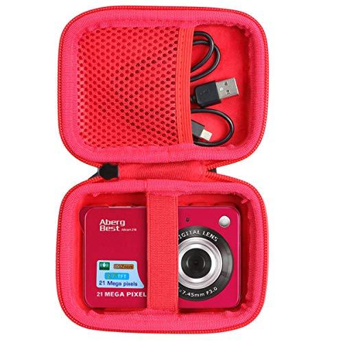 co2CREA Duro Viajar Caso Cubrir para Andoer/Youmeet/GordVE/CamKing/Compactas Cámaras Digitales AbergBest 21 2.7 LCD Recargable HD Cámara Digital (Rojo)(Caja Solo)