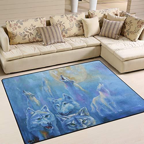ALINLO tapete de Pintura al óleo para Interior y Exterior de Puerta Delantera, baño, decoración del hogar, 4 pies x 5 pies 3 Pulgadas, poliéster, 80 x 58 Inch