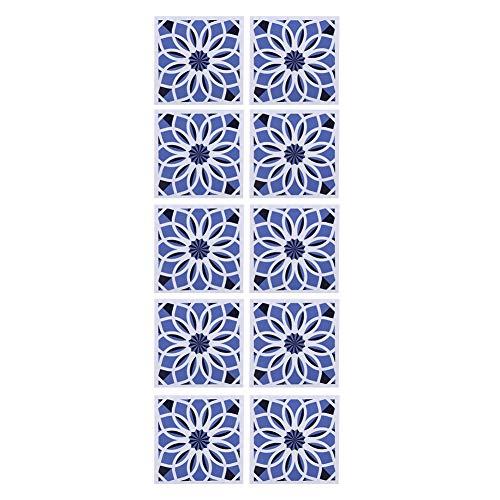 Pegatina autoadhesiva para azulejos con patrón de flores, papel tapiz impermeable, pegatinas antideslizantes para el suelo para el hogar, baño, decoración de cocina