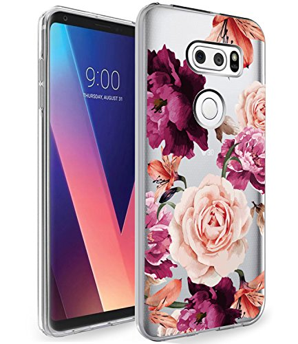 LG V30 Case, LG V30 Plus with Flowers BAISRKE Slim Shockproof Clear Floral Pattern Soft Flexible TPU Back Cover for LG V30/LG V30 Plus/LG V30S