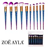 Zoë Ayla Makeup Brush Set, Premium Unicorn Style 10 Piece Essentials Brush Set in Blue, Blending Blush Concealer Eye Face Liquid Powder Cream Cosmetics Brushes Kit