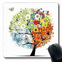 コンピューター用マウスパッドリーフオレンジツリー四季春夏秋アート冬自然緑抽象蝶長方形形状7.9 X 9.5インチ滑り止め長方形ゲームマウスパッド