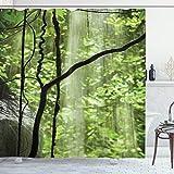 ABAKUHAUS Landschaft Duschvorhang, Dschungel-Wasserfall-Baum, mit 12 Ringe Set Wasserdicht Stielvoll Modern Farbfest & Schimmel Resistent, 175x220 cm, Grün braun