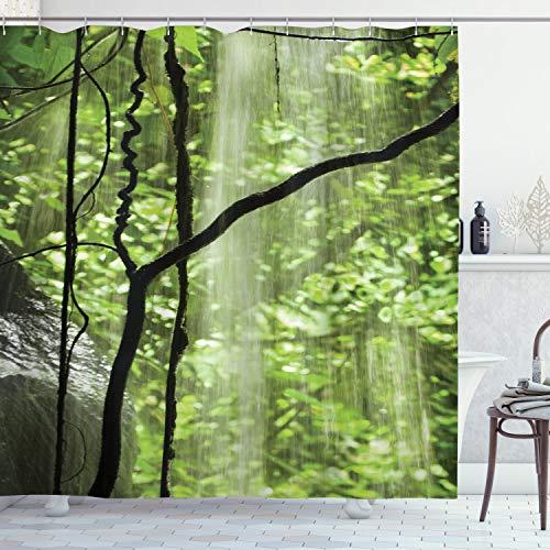 ABAKUHAUS Rainforest Douchegordijn, Jungle Waterfall Tree, stoffen badkamerdecoratieset met haakjes, 175 x 220 cm, Groen bruin