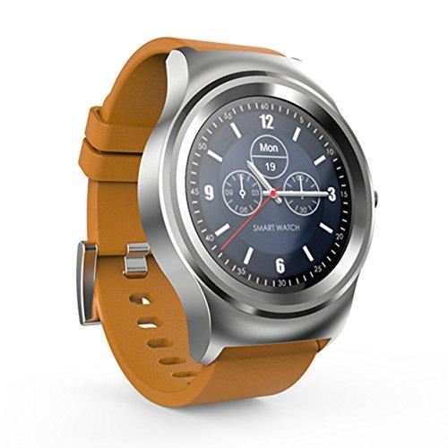 Dailyinshop Inteligente Reloj MTK2502C Bluetooth 4.0 Escalado Deportes conmutación podómetro (Color: Banda de Plata + Cuero de Color Caqui)