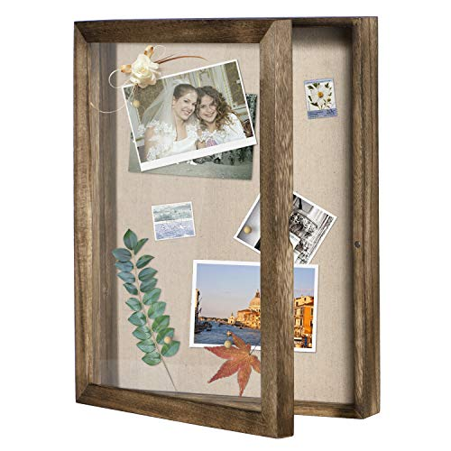 Love-KANKEI Shadow Box Display Case 11x14 Shadow Box Picture Frame with Linen Back Memorabilia Awards Medals Photos Memory Box