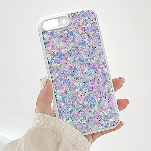 ZCDAYE Funda con purpurina para iPhone 7 Plus/iPhone 8 Plus, con lentejuelas brillantes, brillantes, para niñas, mujeres, a prueba de golpes, compatible con iPhone 7 Plus/8 Plus, color blanco