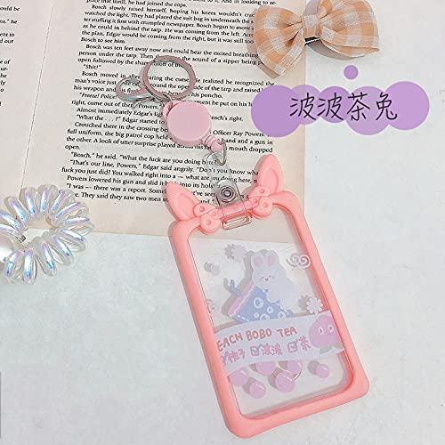 XKMY Soporte para tarjetas retráctiles para mujer, para tarjetas de nombre, transparente, para estudiantes, con oso de conejo, niñas, para tarjetas de identificación (color: Wave Tea Rabbit)
