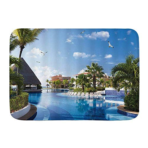 AoLismini Bath Mat Rug,Ocean Summer Sunny Resort Seagull Flying Over Holiday Villa Gazebo Palm Trees Swimming Pool Sky,Non-Slip Absorbent Ultra Soft Bathroom Dr Mats