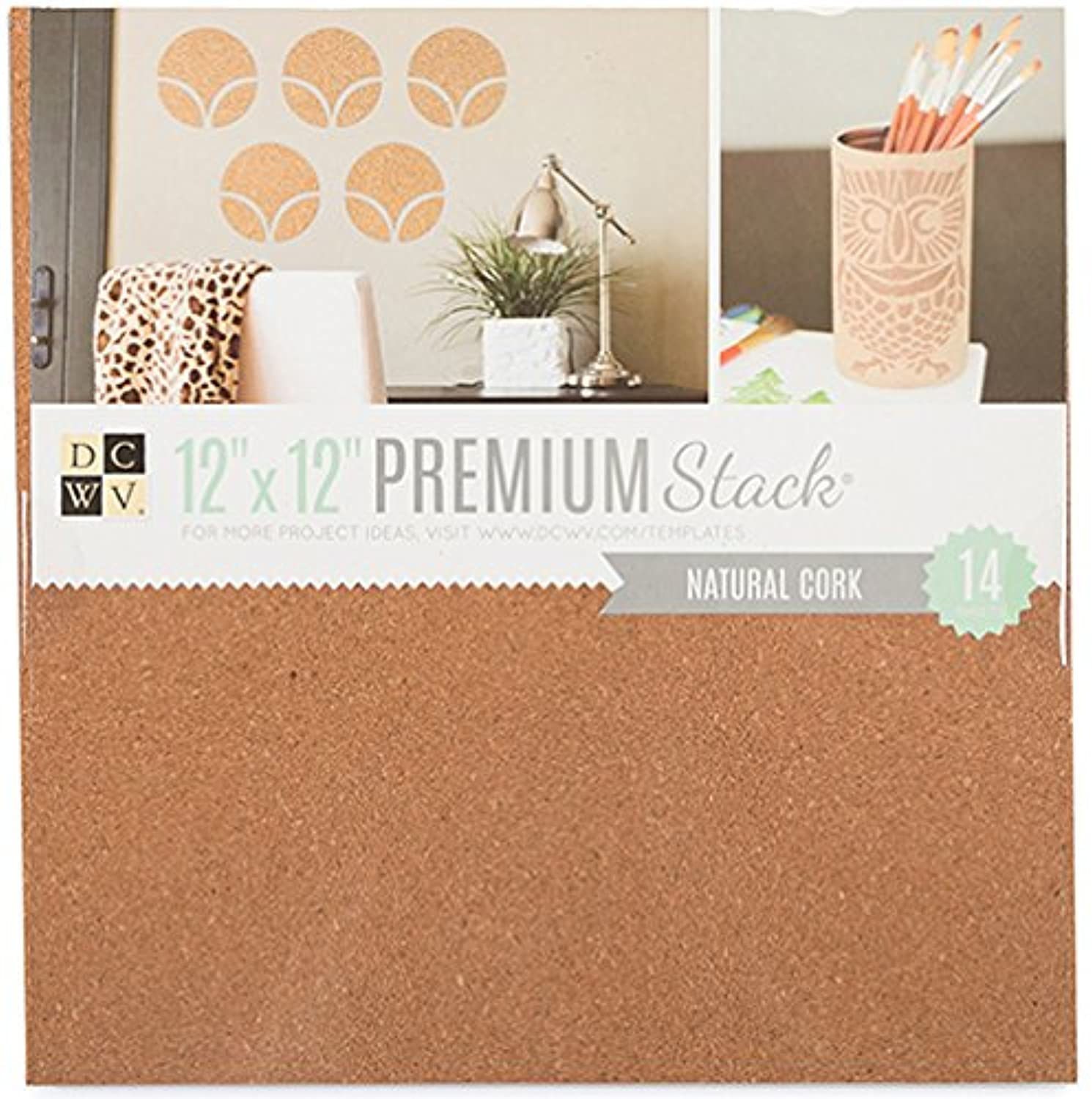 American Crafts 12 x 12 Inch Natural Cork Premium 14 Sheets Die Cuts with a View Stacks