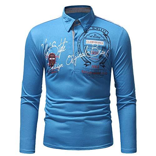Xmiral Herren Sweatshirt Casual Slim Print Langarm Umlegekragen Plain Polo Shirt (L,Blau)