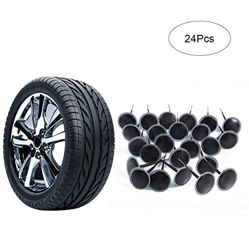 Ejoyous Parche para reparación de pinchazos de neumáticos sin cámara, 24 Piezas de 6 mm de Goma Flexible Duradera para reparación de neumáticos de Coche, camión, Motocicleta, neumático agrícola
