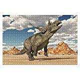 """Jigsaw Puzzle Dinosaur Diabloceratops in a Desert Landscape for Adults Kids Wood Puzzle Game Educational Family Game Toys Gift, Challenge Art Gift - 20""""x30""""(1000 Pieces)"""