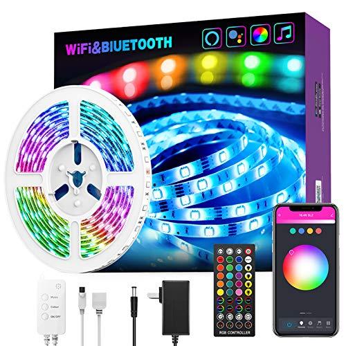 Tiras LED RGB Wifi 10 Metros 5050 RGB Tira de Luces Colores Inteligente funciona con Alexa Google Home, Multi-Modos para Navidad, TV, Dormitorio, Fiesta y Decoración